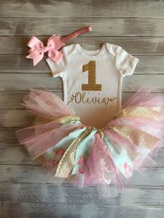 Floral Monogramed Two Tone Pink Baby Blue Gold Baby Girl 1st Birthday Outfit…