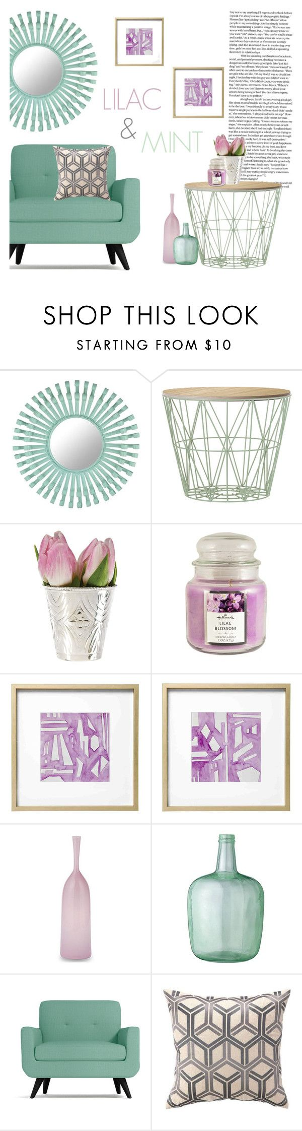 """LILAC & MINT"" by shenies on Polyvore featuring interior, interiors, interior design, home, home decor, interior decorating, Florence Broadhurst, ferm LIVING, Cultural Intrigue and Hallmark"