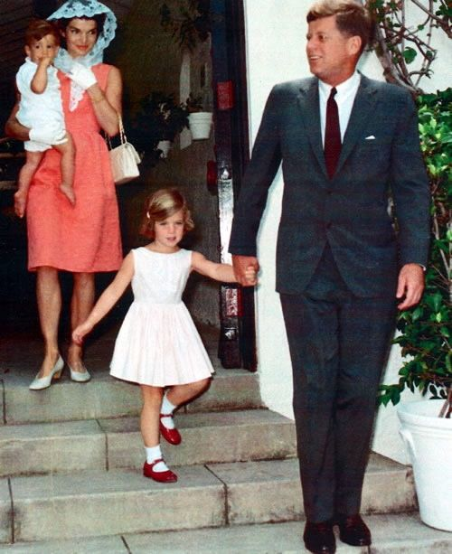 """mrsjohnfkennedy: """"President John F. Kennedy and First Lady Jacqueline Kennedy with children Caroline and John in Palm Beach for Easter Sunday Mass, 1962. """""""