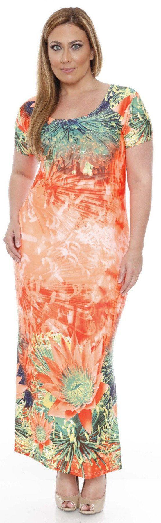 Plus Size Jasmine Maxi Dress Orange Tea Length Sleeves