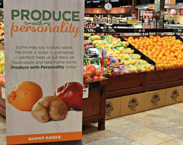 Giant Eagle ugly fruit and vegetables, helps to stop food waste. The East Coast chain just kicked off its 'Produce with Personality' pilot, which will make ugly fruits and vegetables available at prices 20-25 percent below their standard produce. #plantbased #diet