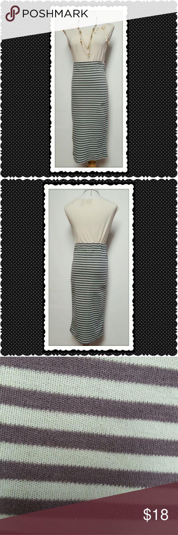 Innovators Mint Striped Pencil Skirt Innovators mint and gray striped pencil skirt. Elastic waist. Perfect, no flaws. Innovators Skirts Pencil