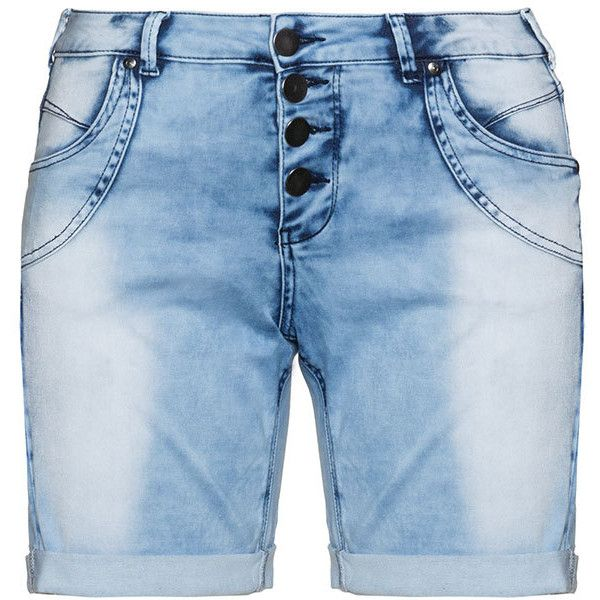 Zizzi Light-Blue Plus Size Distressed denim bermuda shorts ($61) ❤ liked on Polyvore featuring shorts, plus size, slim shorts, light blue shorts, overall shorts, ripped shorts and summer shorts