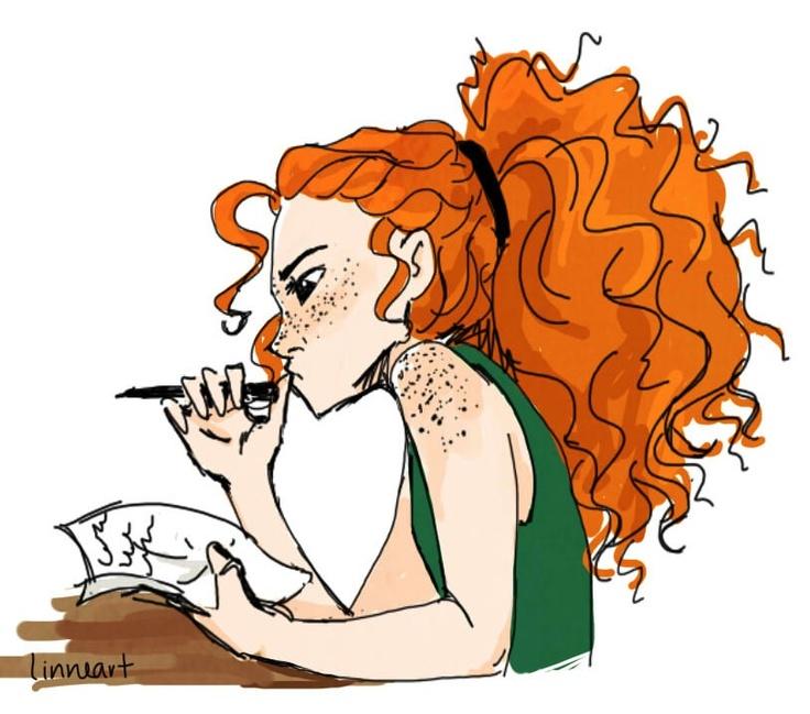 Modern Merida…love the freckles and the big bushy ponytail!!