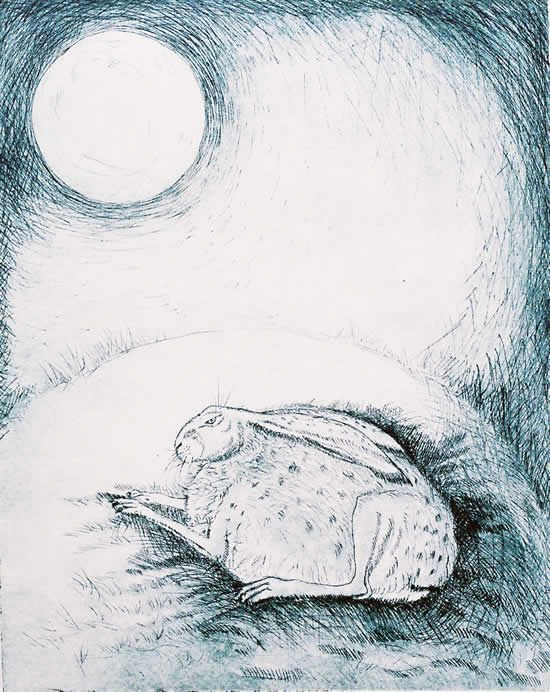 drypoint - Blue Moon Sleep by Georgina Warne