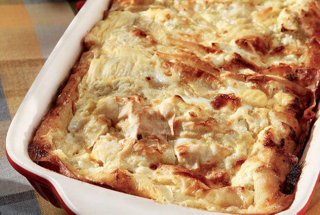 ΥΛΙΚΑ  * 10 (ή 1 πακέτο έτοιμο για πίτες εμπορίου) φύλλα σπιτικά  * 6 αυγά  * 600 γραμμ. φρέσκο γάλα  * 1/2 φλ. τσαγιού ελαιόλαδο  * 2 κ.σ. ...