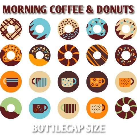 Morning Coffee and Donuts 02173  Printable Circle by blessedgrafik