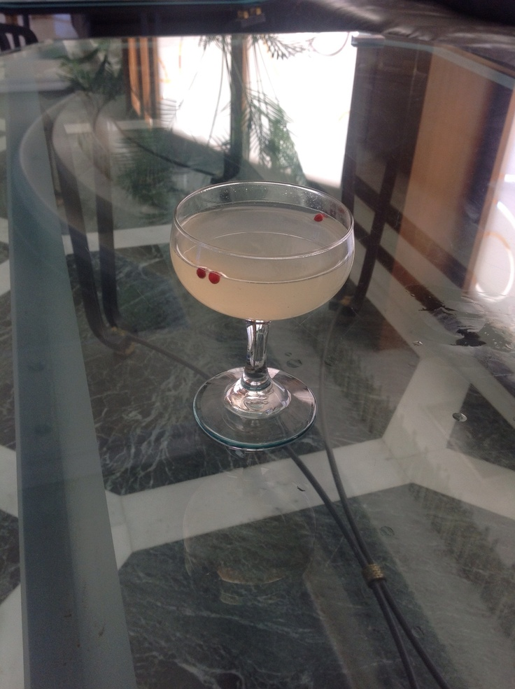 Peppy Skinos  Procedure: Muddle & Shake 1 bar spoon Pink Pepper 4 cl Skinos Masticha Spirit 3cl Vodka 2cl Fresh lemon juice 2cl Sugar Syrup 1 dash Peychauds bitters  Garnish:pink pepper