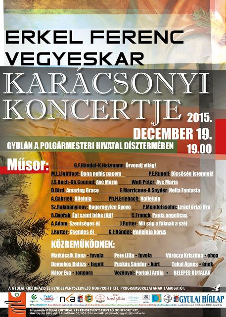 Plakat104.hu: A Gyulai Erkel Ferenc Vegyeskar karácsonyi koncert...