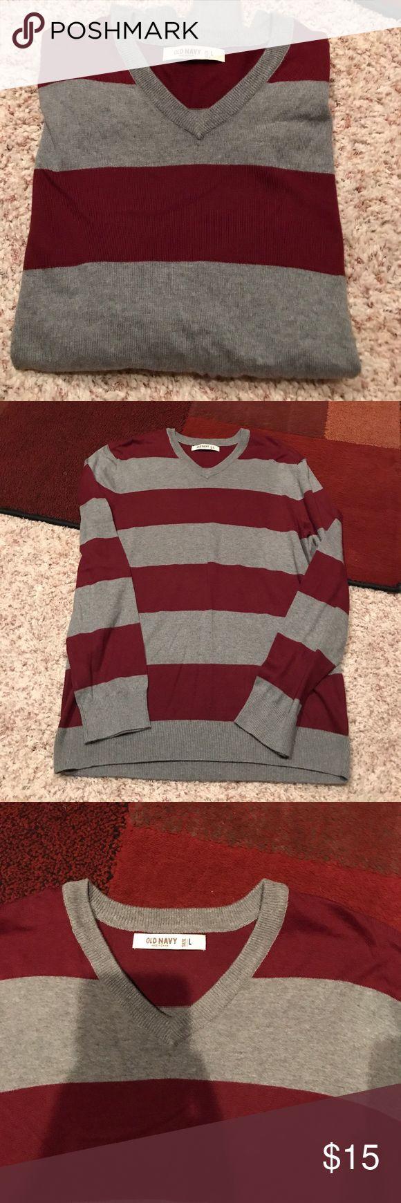 Men's v neck sweater Men's Old Navy maroon and gray striped V-neck sweater size large Old Navy Sweaters V-Neck