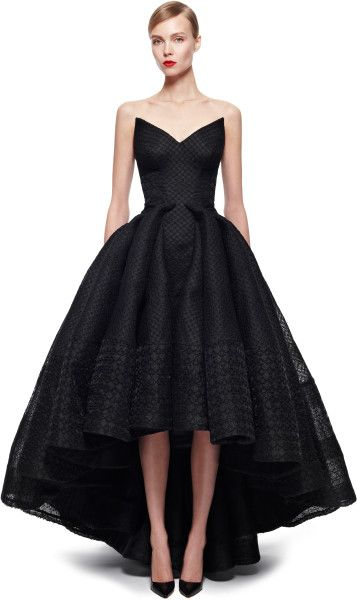 Zac Posen Embroidered Organza Gown in Black (Jet Black) - Lyst
