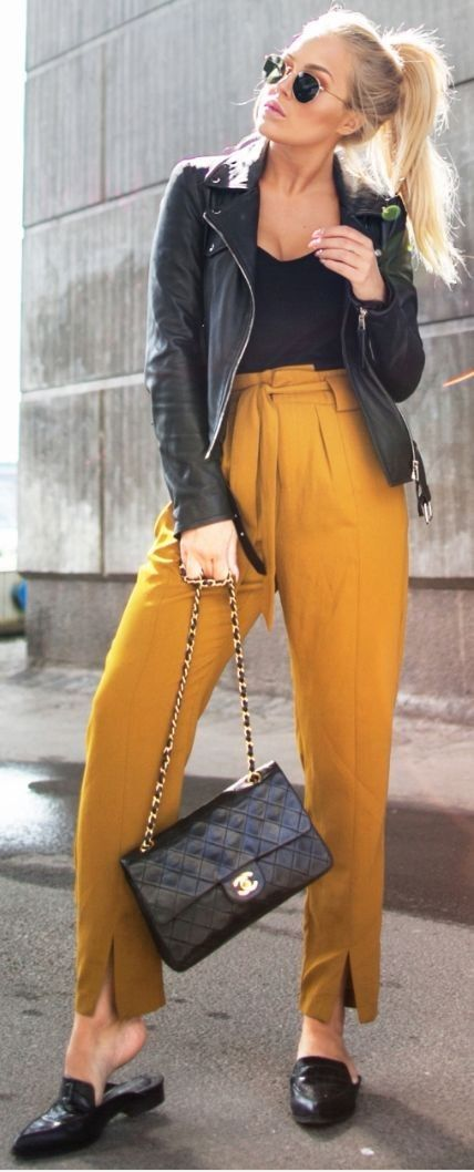 #spring #fashion #outfitideas | Black Jacket, Top and Loafers + Mustard Pants | Angelica Blick