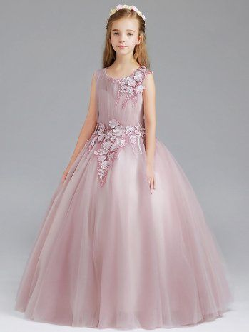 df799bf7a72957 Kids Girls Pink Embroidered Lace Bubble Princess Prom Wedding Dress