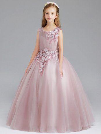 Kids Girls Pink Embroidered Lace Bubble Princess Prom Wedding Dress 595a516dbaaa
