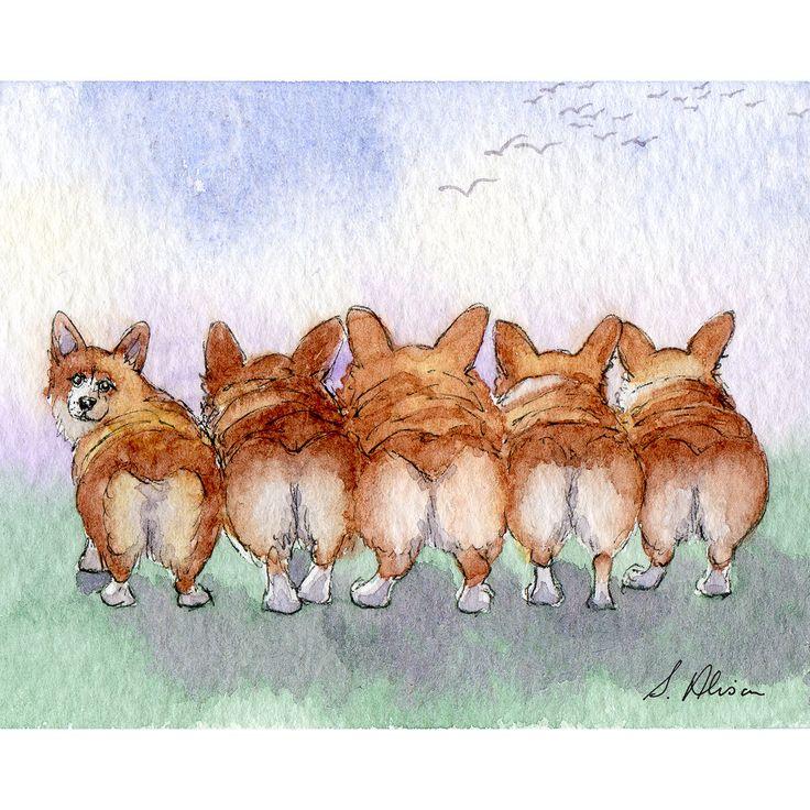 Welsh Corgi dog 8x10 art print Enid Blyton five by Susan Alison Art