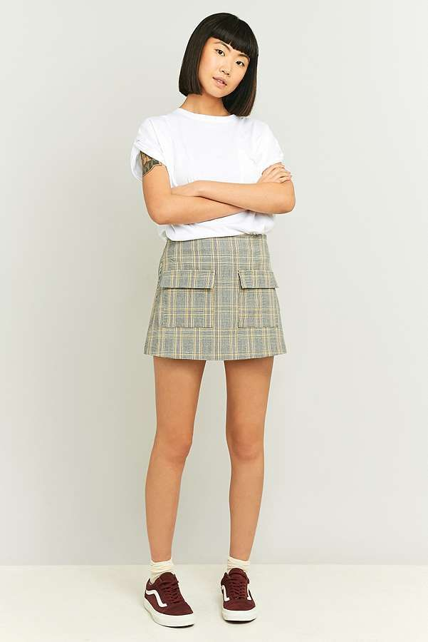Slide View: 2: Urban Outfitters Scout Yellow Plaid Pelmet Skirt