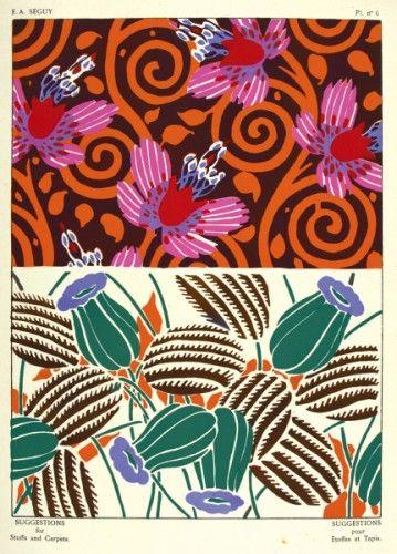 SEGUY, E. A. Suggestions pour Etoffes et Tapis. Plate no.6. Original pochoir lithograph for Suggestions pour Etoffes et Tapis, #Paris c. #1925 #pattern #design #textiles #colour