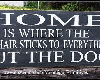 Hunde, zuhause ist, wo die Haare Hund hält sich an alles, rustikal, Schilder, Holz, Primitive, hölzerne Schilder