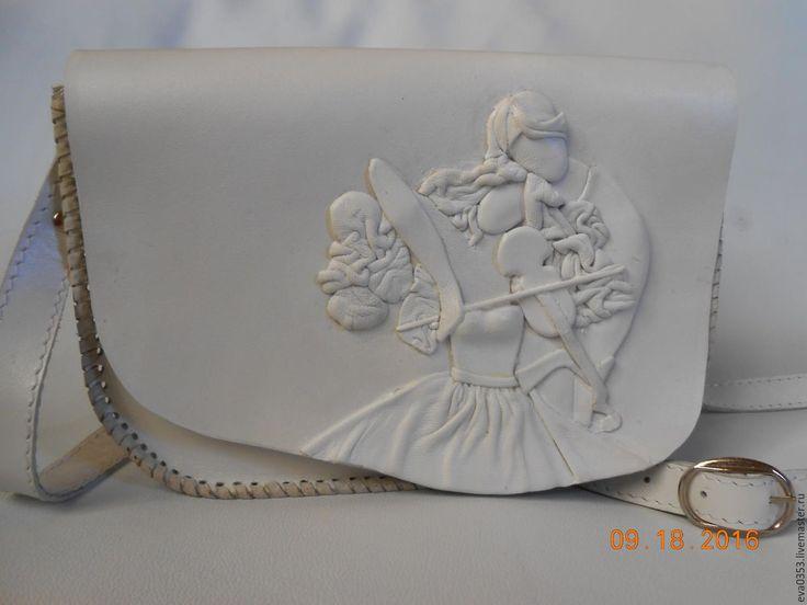 """Купить Сумка из кожи """"Гармония"""" - белый, сумка, кожа натуральная, скрипка, любовь, пара"""