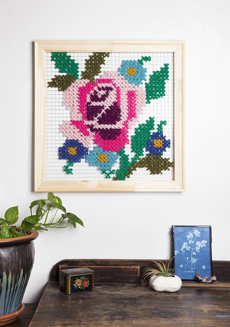 DIY Oversized Cross Stitch Wall Art