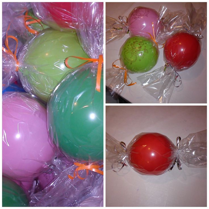 Bon-bon baloons with lollipop and smarties inside as party favors for the school friends!