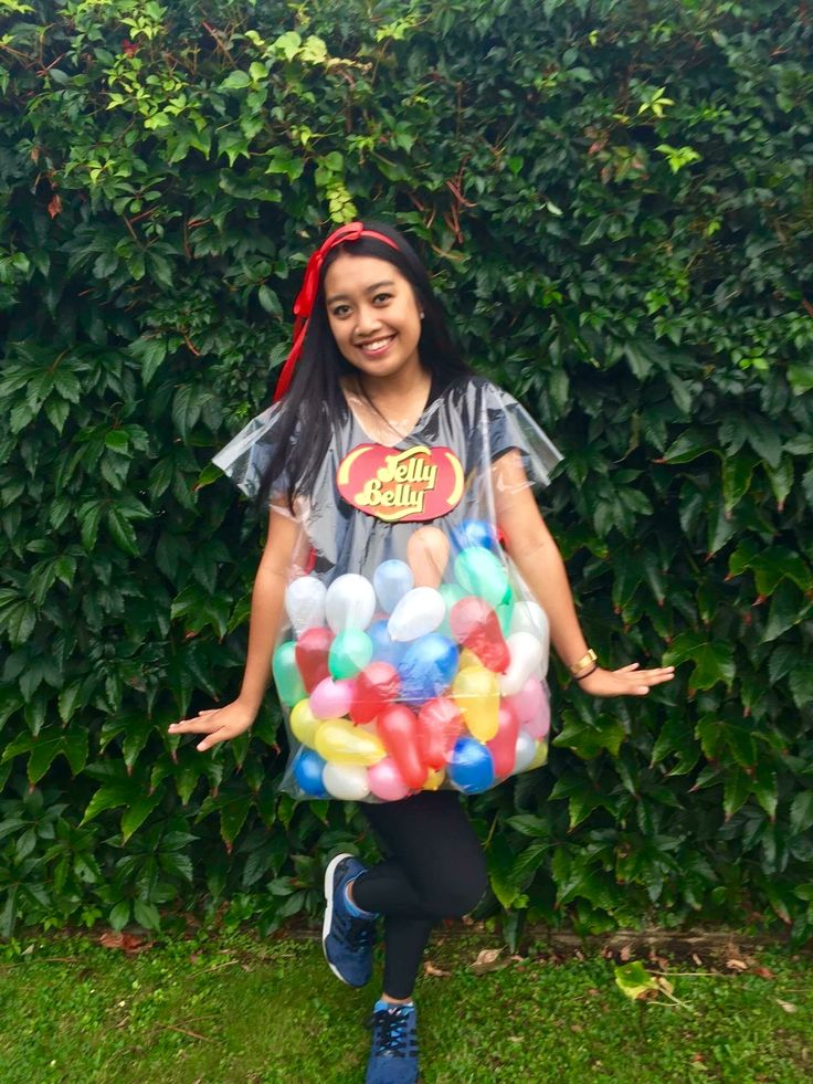 Dress up mufti day as Jelly belly Jelly beans. Big plastic bag, red ribbon and water balloons.