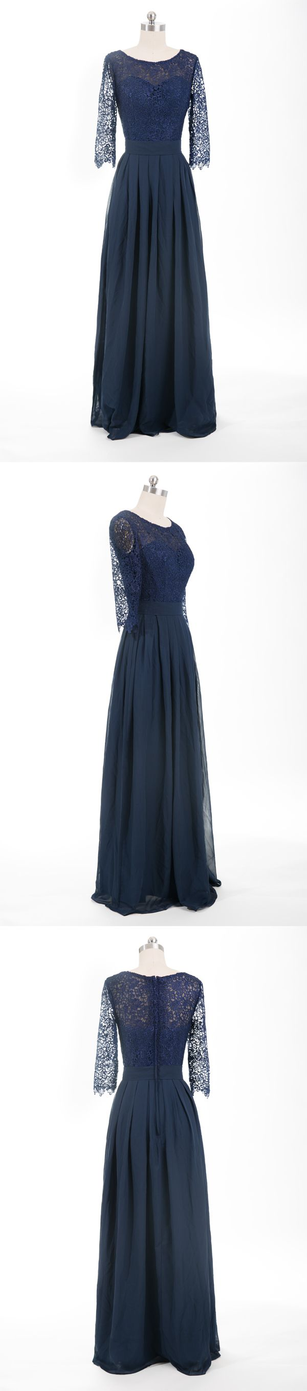 dark navy long lace and chiffon bridesmaid dresses
