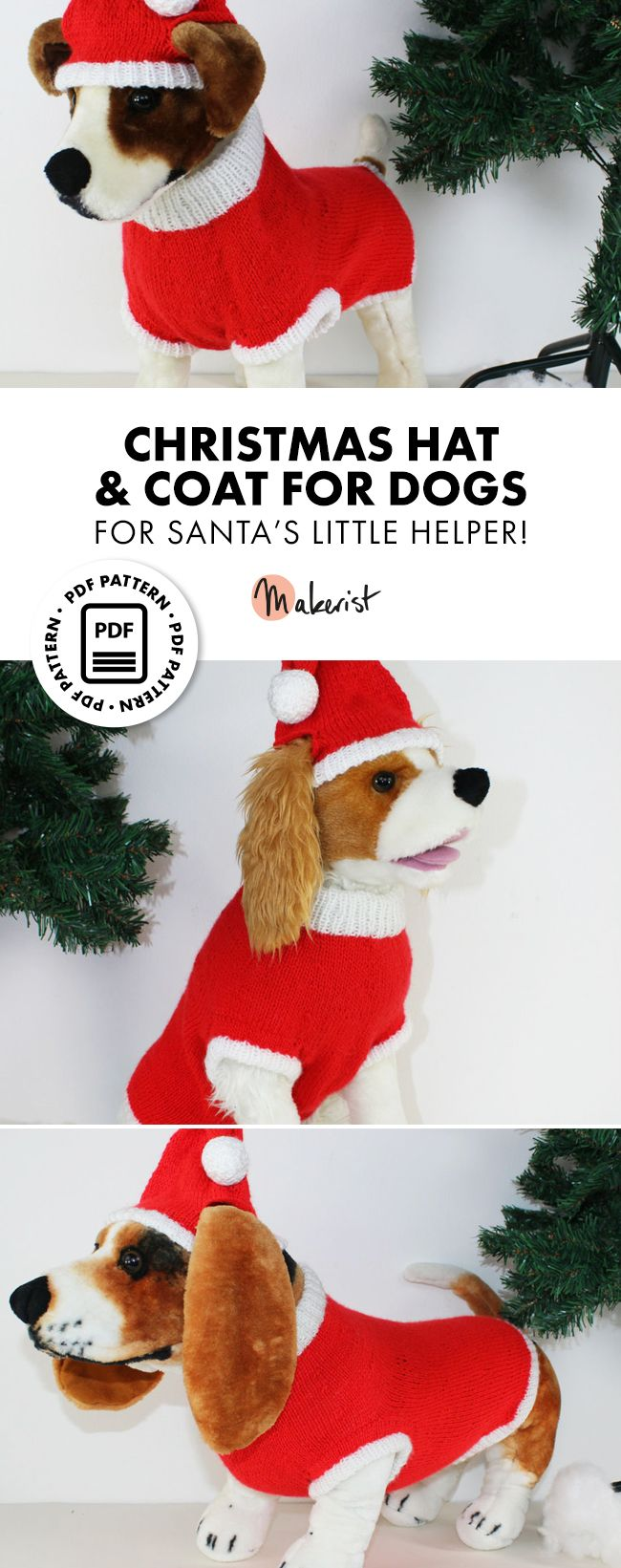 Dog Christmas Santa Hat And Coat Circular Christmas Dog Costume Dog Clothes Patterns Fun Christmas Outfits