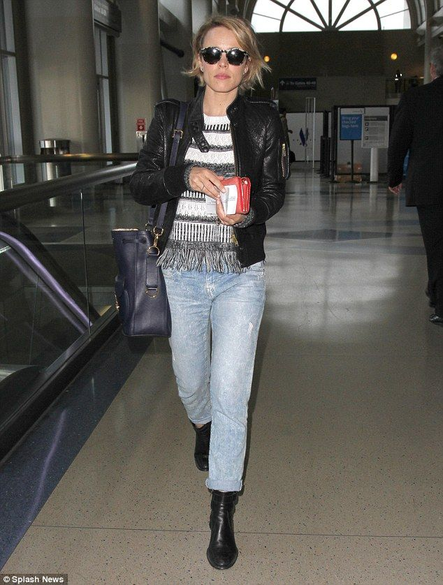 Jetset chic: Rachel McAdams looked stylish as arrived at Los Angeles International Airport...