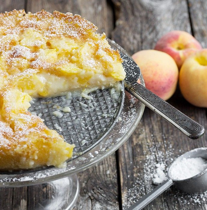 Peaches and Cream Cake. he cake bakes up in to a form that is barely set on the outside and creamy on the inside. It's very mildly sweet, which really lets the peaches shine.