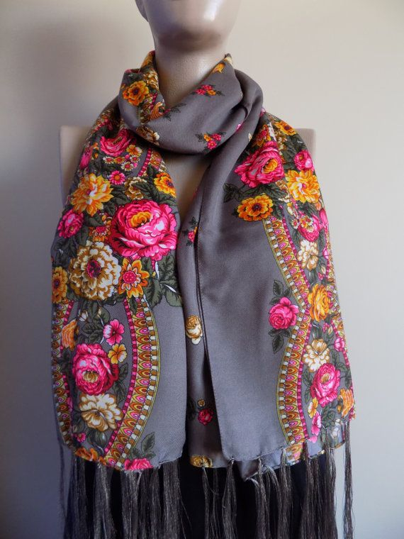 Russian scarf stone brown scarf floral scarf winter by hedopart