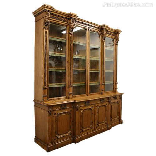 Victorian Oak Four Door Library Bookcase Antiques Atlas