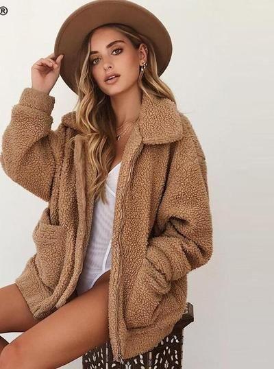 1c903612e36 Nadafair plus size fleece faux shearling fur jacket coat women autumn  winter plush warm thick teddy coat female casual overcoat