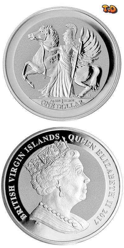 N♡T. 2017 British Virgin Islands $1 1 oz .Composition:	Silver Weight in Grams:	31.1 g Weight in Ounces:	1 oz Finish:	Reverse Proof Purity:	.999 Country:	British Virgin Islands Mint:	Pobjoy Mint Denomination:	1 Currency:	Dollar Dimensions:	38.6 mm Mintage:	50,000