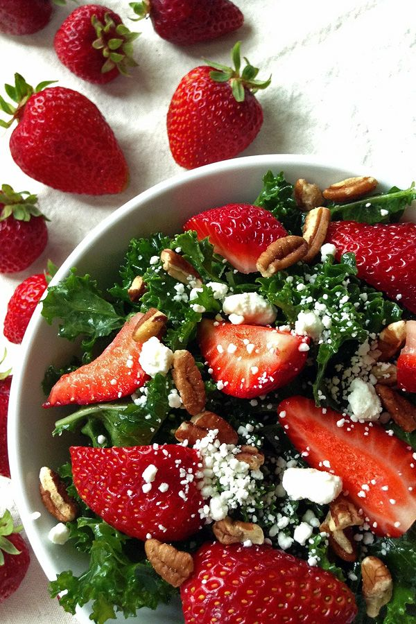 Kale Salad with Strawberries  - The Best Way to Eat Kale.   tiaskitchen.com
