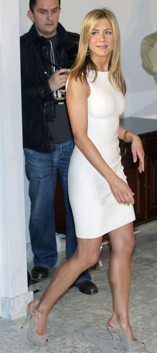 jennifer aniston - white rachel roy dress, gucci shoes.