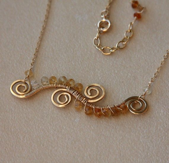 wire & beads: Wire Wrap, Beads Necklaces, Beads Waves, Gold Bracelets, 14K Gold, Beads Lov, Bracelets Gold, Citrine Waves, Wire Necklace