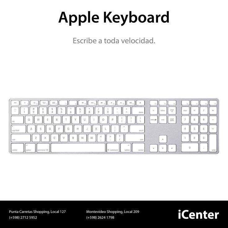 Apple Keyboard. Escribe a toda velocidad. El teclado Apple Keyboard con teclado numérico presenta una elegante carcaza de aluminio anodizado ultra delgada y teclas de perfil bajo para proporcionarte un manejo rápido y ágil. Precio U$S 99.