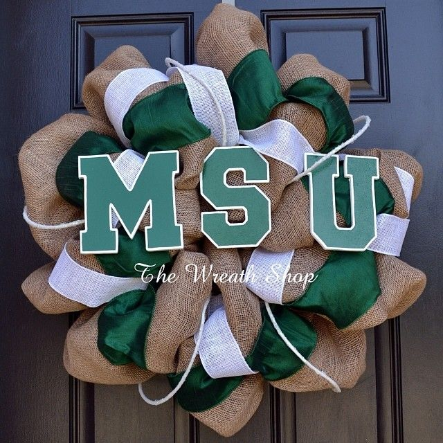Michigan State Spartans burlap wreath Padgram
