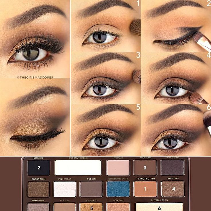 "Kate on Instagram: ""Here are the steps to achieve yesterday's eye, using the @toofaced Semi Sweet Chocolate Bar palette! This warm eye look helps to softly lift the eyes with its smoked out, upturned outer corner. I prepped the eye by applying Shadow Insurance and the Coconut Creme shade on top, which helps the rest of the shades blend more easily."