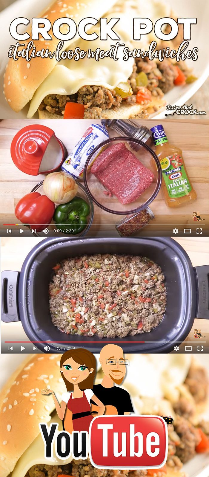 This quick cooking video of this easy slow cooker sandwich takes ground beef and ground sausage and makes a delicious Crock Pot Italian Loose Meat Sandwich with green bell peppers, red bell peppers and onion. Italian dressing ads a nice zippy flavor to bring it all together in one of our family's favorite slow cooker meals. See this video and more easy recipe ideas on our YouTube Channel.