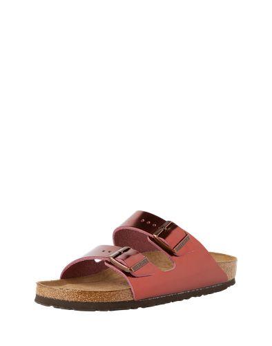 Das metallic-glänzende Obermaterial verleiht den Pantoletten ein Fashion-Update. Das gewohnt bequeme und hochwertige Fußbett der BIRKENSTOCK Schuhe Arizona SFB bietet dabei tolle Laufeigenschaften.