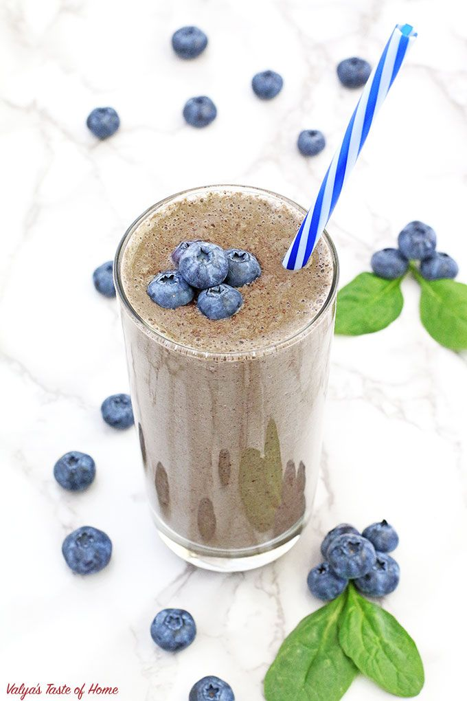 This Healthy Avocado Spinach Blueberry Smoothie Smooth, creamy, nutritious cold …