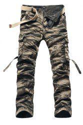 Trendy Straight Leg Camo Design Multi-Pocket Military Style Cotton Blend Cargo Pants For Men - KHAKI 38