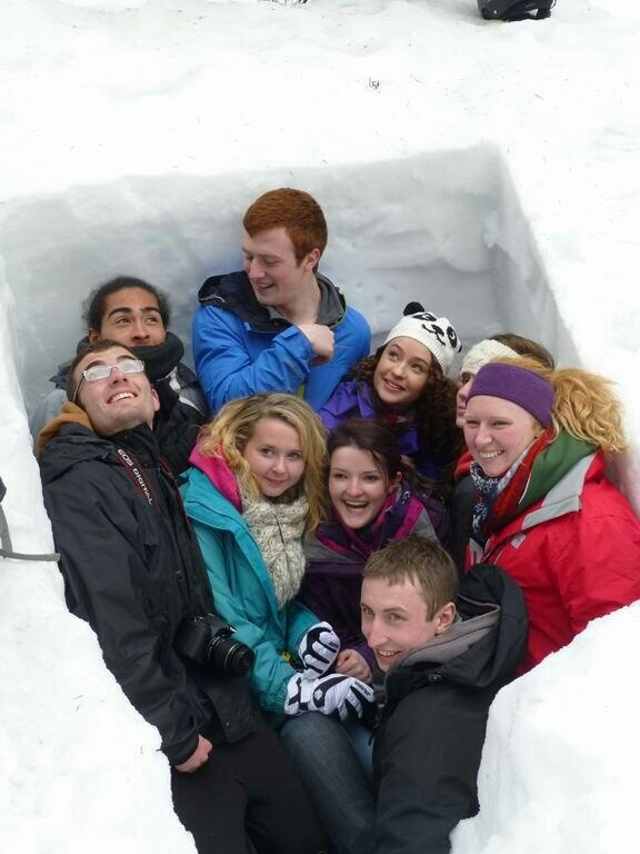 Swansea Uni #Swancouver students studying avalanche hazards (before dropping lecturer in snowhole!).  Pic via @gerainthowen