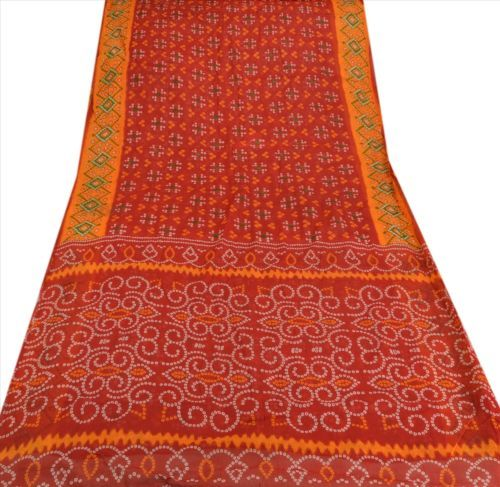 Sanskriti-Vintage-100-Pure-Cotton-Saree-Red-Bandhani-Printed-Sari-Craft-Fabric