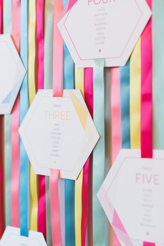 How to make a colourful geometric table plan with ribbon.