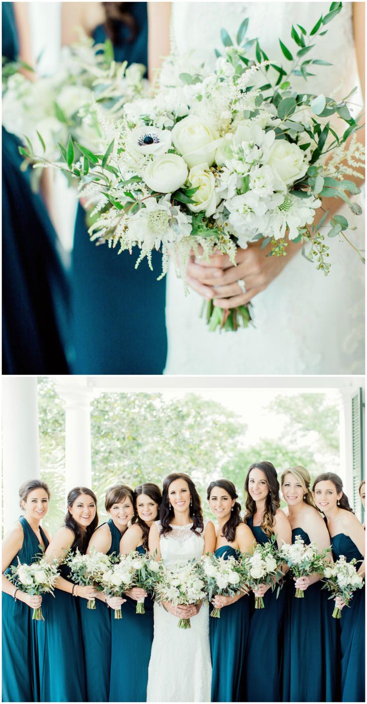 Dark teal bridesmaid dresses, all white wedding bouquets, Charleston bridal party, Southern elegance, long gowns // Rachel Red Photography