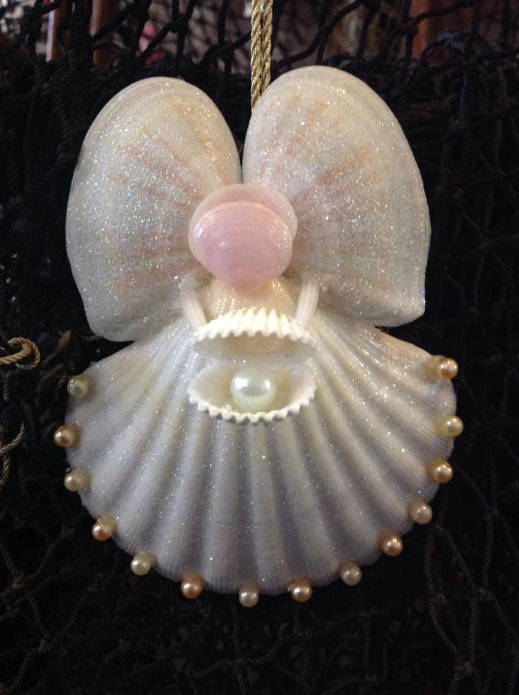 Angel holding Seashell Ornament – #Angel #holding…