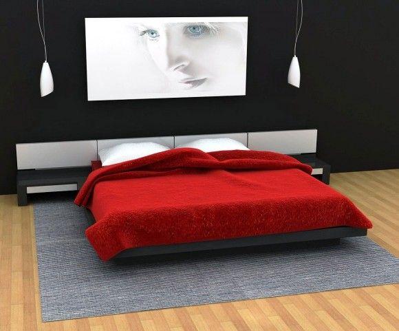 conceptions chambres coucher rouge et noir - Chambre A Coucher Moderne Rouge Et Noir